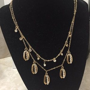 Gold Cowrie Shell Layered Chain Necklace